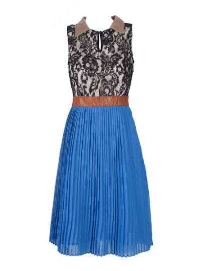 Blue Pleated Floral Lace Sleeveless Bandeau Silk Dress