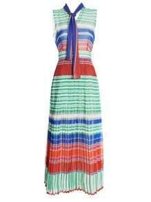 Boho Style Silk Contrast Striped Pleated Pussybow Maxi Dress