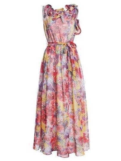 Red Rosette Sleeveless Floral Print Self-tie Sashes Silk Dress