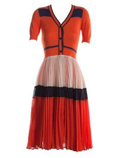 Orange Short Sleeve Button Front Contrast Panel Pleated Dress