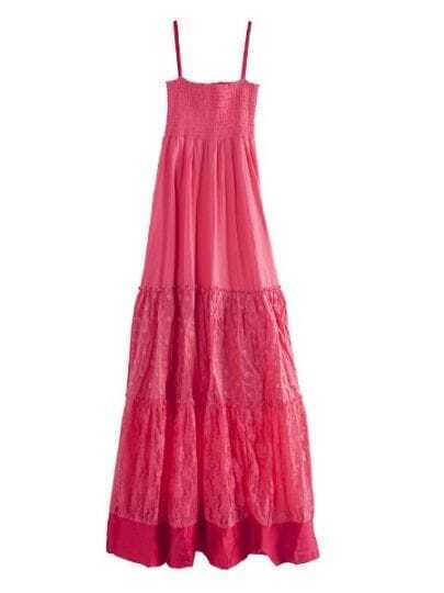 Red Spaghetti Straps Smocked Top Eyelet Pleated Maxi Dress