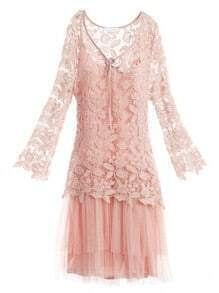 Pink Long Sleeve Floral Crochet Top Gathered Tulle Dress