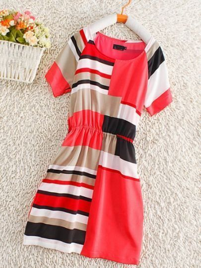 Red Short Sleeve Contrast Striped Panel Silk Dress