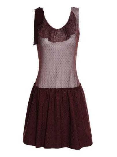 Coffee Lace Ruffle Neck Sleeveless Rhinestone Embellished Dress