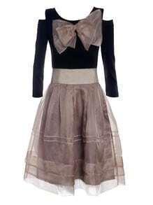 Black Open Bowkbot Shoulder Long Sleeve Bandeau Dress