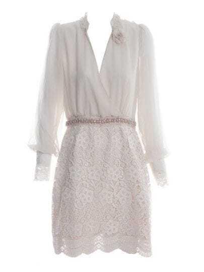 Apricot Long Sleeve Crochet Floral Scallop Edge Wrap Dress