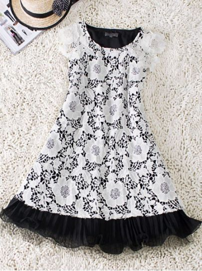 Black Cutwork Embroidered Cap Sleeve Frill Hem Flare Dress