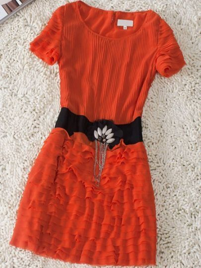 Red Tiered Short SLeeve Petal Chian Embellished Bandeau Dress