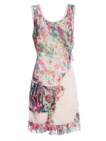 Beige Ink Floral Sleeveless Ruffle Tie Pocket Shift Dress