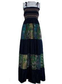 Boho Spaghetti Straps Smocked Top Tribal Print Maxi Dress