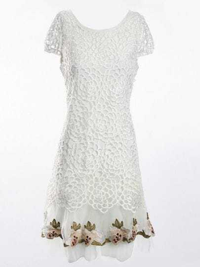 White Floral Crochet Embroidered Silk Cap Sleeve Dress