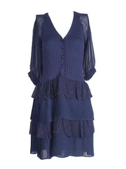 Navy Silk Half Sleeve Button Up Polka Dot Tiered Ruffle Dress