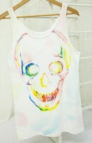White Paintily Skull Print Sleeveless Tank Top