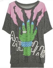 Grey Graffiti Hand Print Half Sleeve Banded Hem T-Shirt