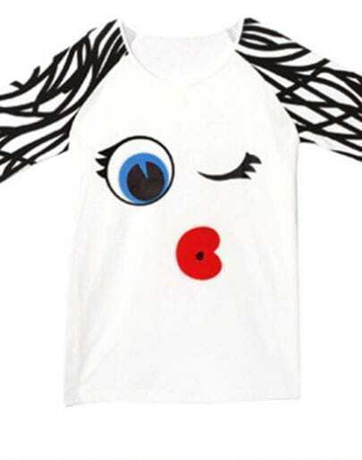 White Cute Lip and Eyes Print Raglan Sleeve T-Shirt