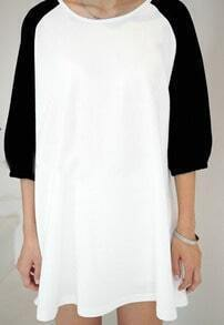 Black White Puff Raglan Sleeve Peasant T-Shirt