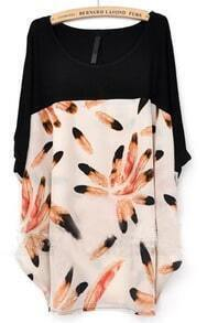 Ivory Black Batwing Sleeve Feather Print T-Shirt