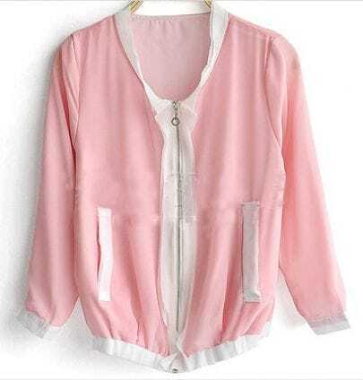 Pink White Zipper Fly Chiffon Long Sleeve Jacket