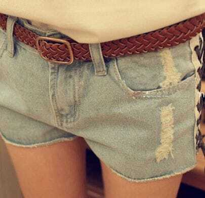 Light Blue Lace Up Side Ripped Denim Shorts