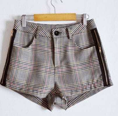 Grey Plaid Zipper Side Pockets Shorts