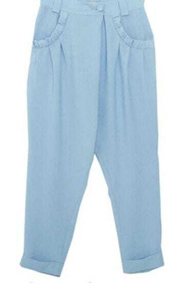 Blue Frill Pockets Harem Trun Up Pant