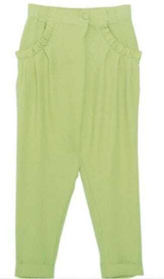Light Green Frill Pockets Harem Trun Up Pant