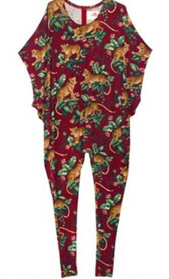 Red Tiger and Trees Print Batwing Sleeve Harem Jumpsuit
