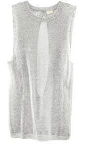 Grey Metallic Knitted Sweater Slit Back Tank Top