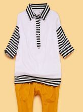 White Striped POLO Neck Three Quarter Length Sleeve Blouse