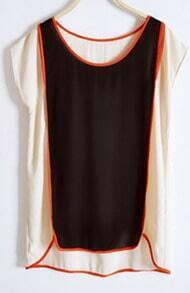 Black Chiffon Slit Shoulder Short Sleeve Contrast Trims Blouse