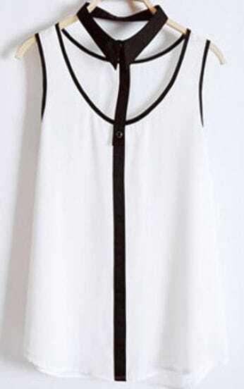 White Chiffon Sleeveless Blouse with Detachable Collar