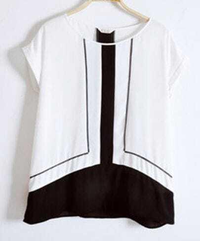 White Contrast Black Panel Chiffon Dolman Sleeve Blouse