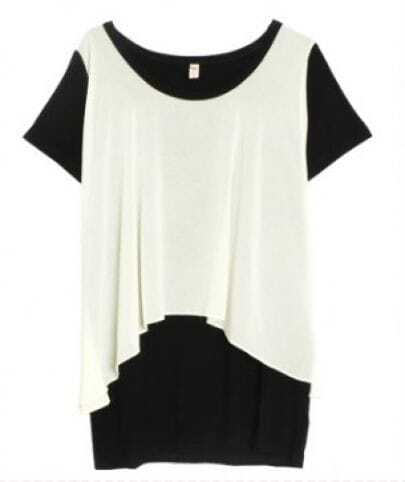 Black Short Sleeve Contrast White Chiffon Layer Blouse