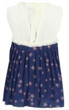 Navy Sleeveless Star Print Frill Cut Out Tie Back Blouse