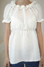 White Eyelet Lace Frilly Collar Short Sleeve Tunic Blouse