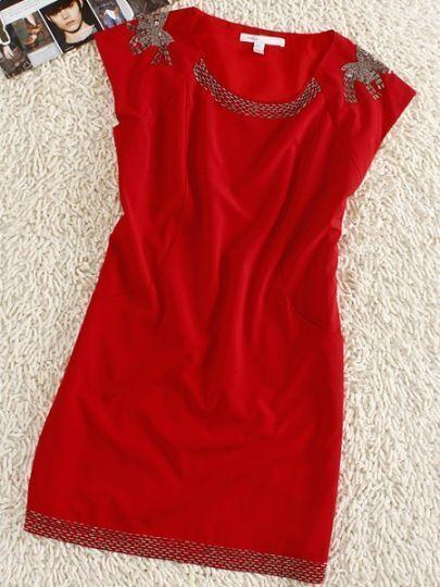 Red Round Neck Sleeveless Bow Print Silk Mini Dress