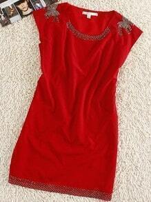 Red Round Neck Sleeveless Bow Print Silk Mini Dress