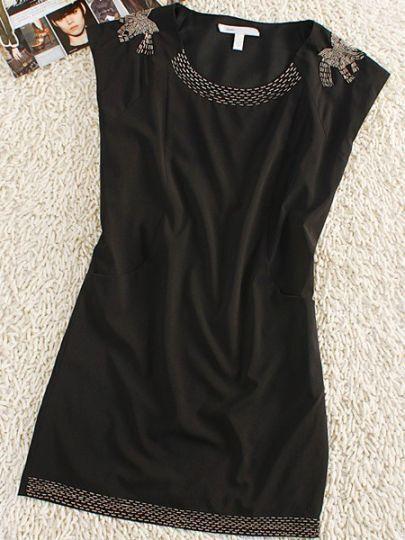 Black Round Neck Sleeveless Bow Print Silk Mini Dress