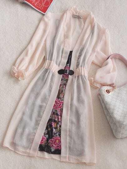 Pink V Neck Long Sleeve Floral Elasic Waist Silk Two Pieces Dress