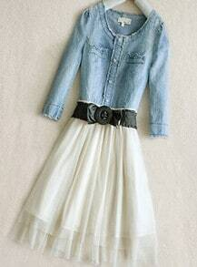Blue Round Neck Long Sleeve Single Breasted Bow Denim Dress