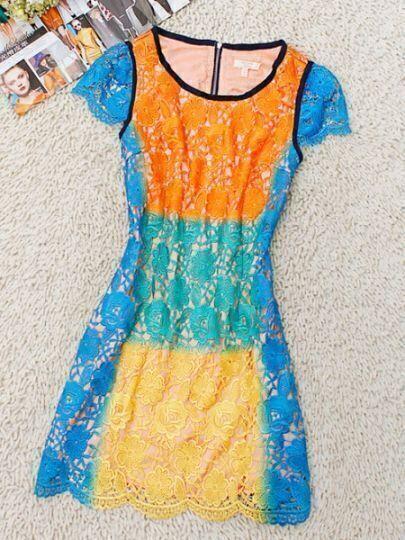 Multi Round Neck Short Sleeve Hollow Floral Silk Dress