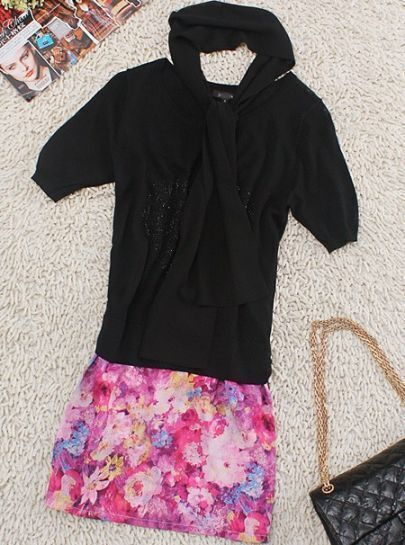 Black Round Neck Short Sleeve Sequined Floral Silk Dress