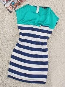 Green Casual Round Neck Sleeveless Striped Polyester Dress