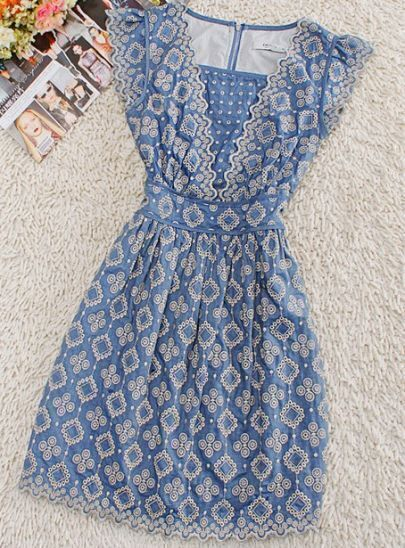 Blue V Neck Sleeveless Floral Elasic Waist Cotton Dress