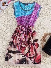 Multi Round Neck Sleeveless Floral Striped Polyester Dress