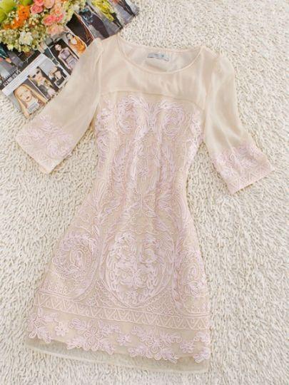 Beige Round Neck Half Sleeve Floral Silk Dress