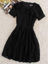 Black Round Neck Short Sleeve Hollow Silk Dress