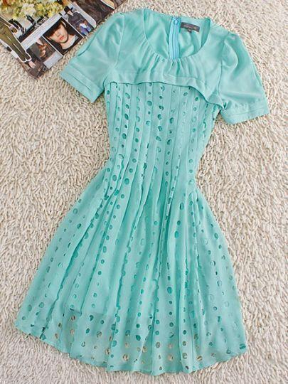 Light Blue Round Neck Short Sleeve Hollow Silk Dress