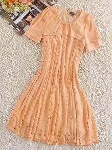 Yellow Round Neck Short Sleeve Hollow Silk Dress