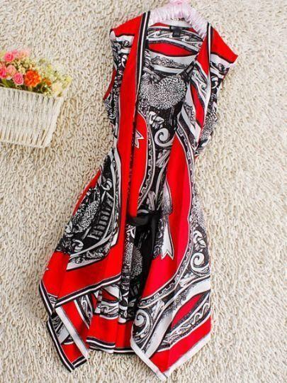 Red Vintage Round Neck Sleeveless Floral Silk Dress
